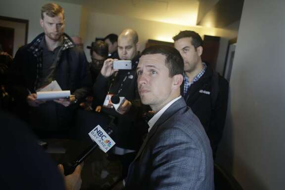 Buster Posey, catcher, answers questions during Giants media day at AT&T Park on Friday, February 10, 2017 in San Francisco, Calif.