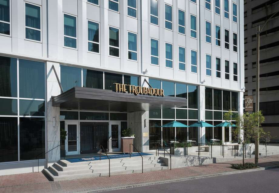 Exterior entrance to the Troubadour, a 184-room boutique hotel at 1111 Gravier St. in New Orleans that opened December 2016. Photo: Whit Preston / © Whit Preston 2016