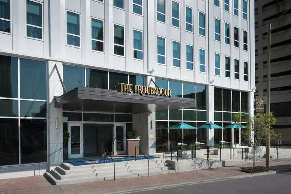 Exterior entrance to the Troubadour, a 184-room boutique hotel at 1111 Gravier St. in New Orleans that opened December 2016.