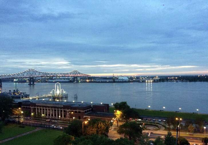 Downtown Baton Rouge is right on the banks of the Mississippi River.