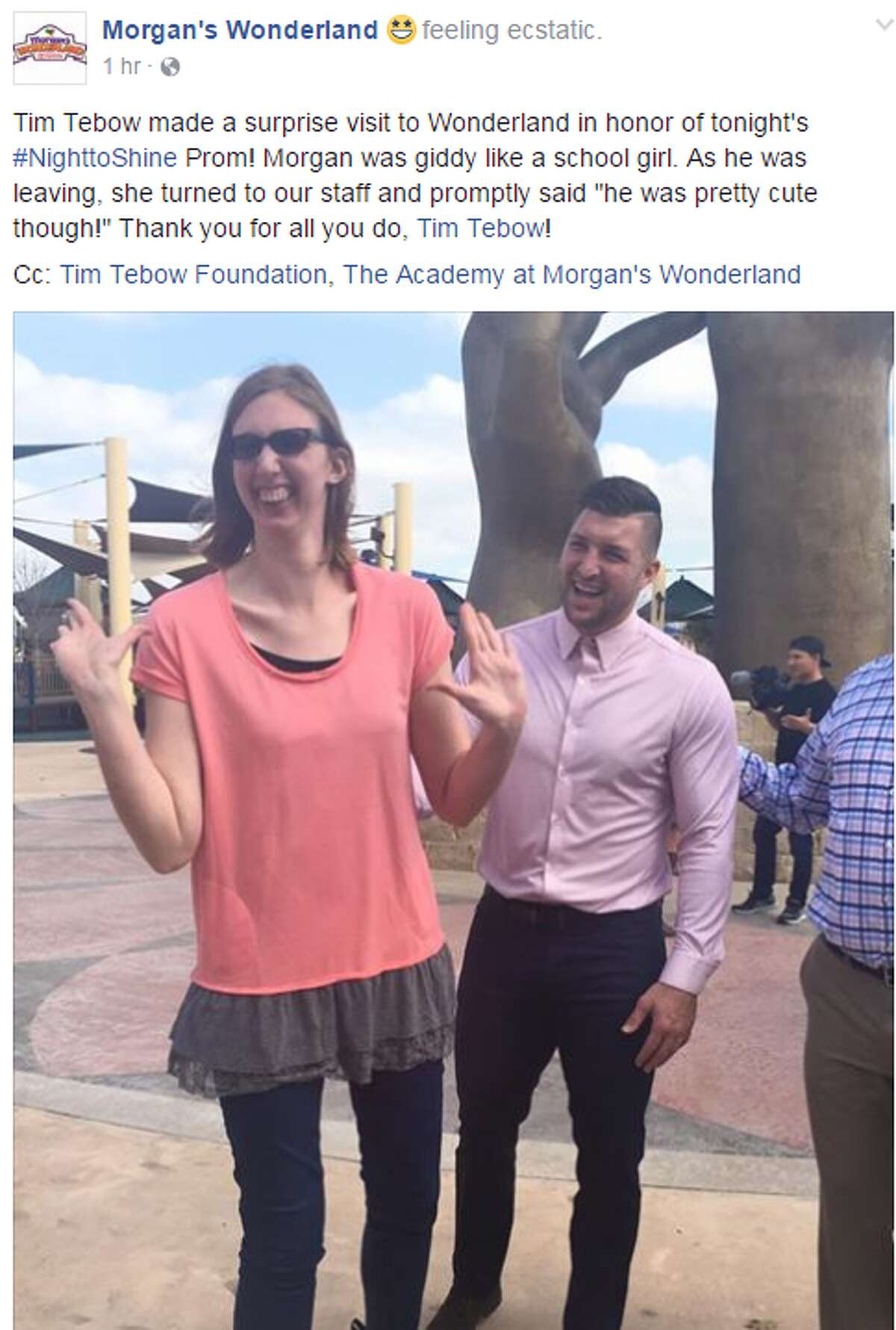 Tim Tebow made a surprise visit to San Antonio's Morgan's Wonderland on Feb, 10, 2017, ahead of a prom night for special needs participants.