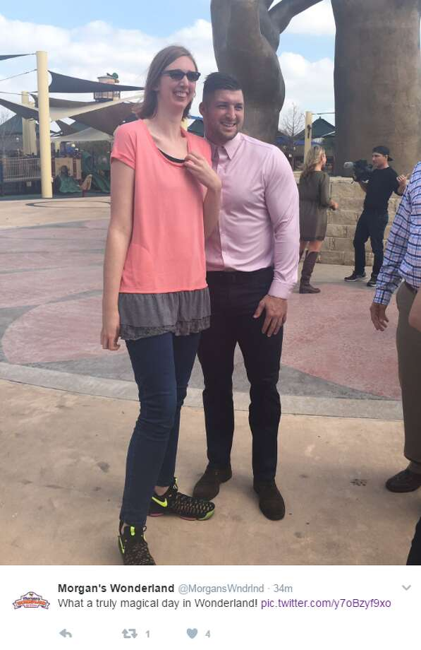 Tim Tebow made a surprise visit to San Antonio's Morgan's Wonderland on Feb, 10, 2017, ahead of a prom night for special needs participants. Photo: Facebook, Instagram, Twitter