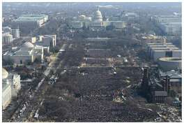 What do journalists do when the president claims his inaugural crowd was larger than Barack Obama's in 2009? You show photos like this, revealing President Trump's assertion to be demonstrably false. That isn't gotch. That is journalism. This pair of photos shows a view of the crowd on the National Mall at the inaugurations of Obama, above, on Jan. 20, 2009, and President Trump, below, on Jan. 20.