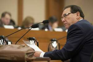 Hank Whitman, commissioner of the Department of Family and Protective Services, speaks at a meeting of the Senate Finance Committee earlier this year in Austin.