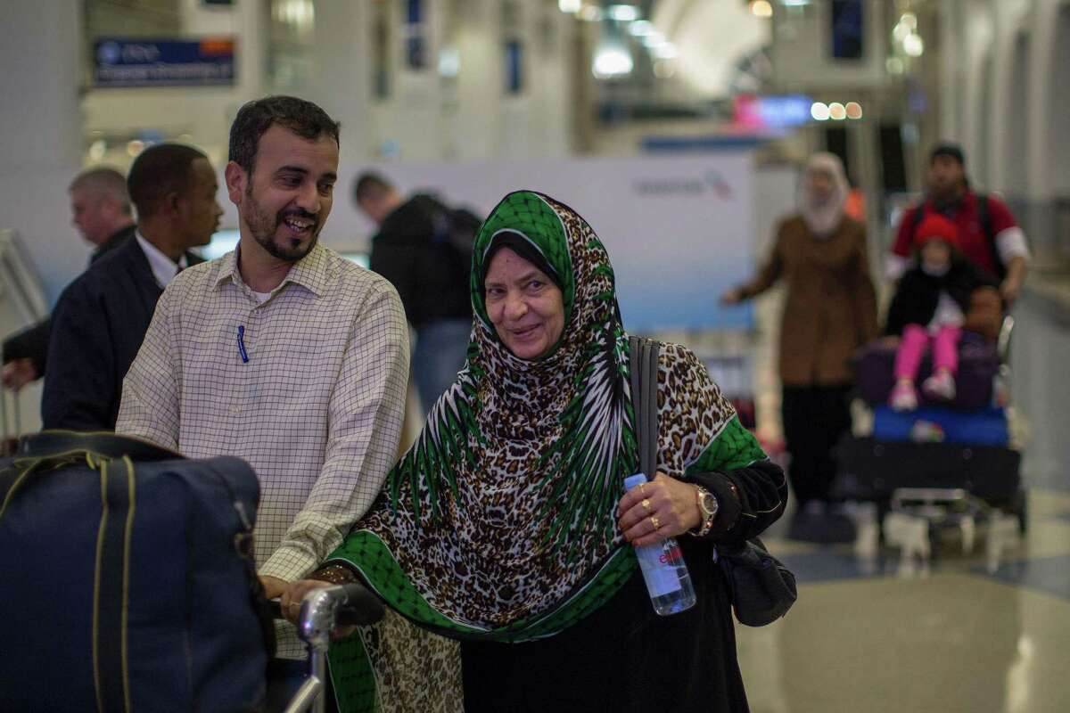 Yemenis Bengabar Hassan and his mother Nadra Alzear, who were among those stranded in Djibouti when President Trump ordered his travel ban, arrive to Los Angeles International Airport on Feb. 8 in Los Angeles. Nationals from the seven countries identified by Trump for the ban don't have a recent history of terrorist attacks on U.S. soils, though some have come from Muslim-majority countries excluded.