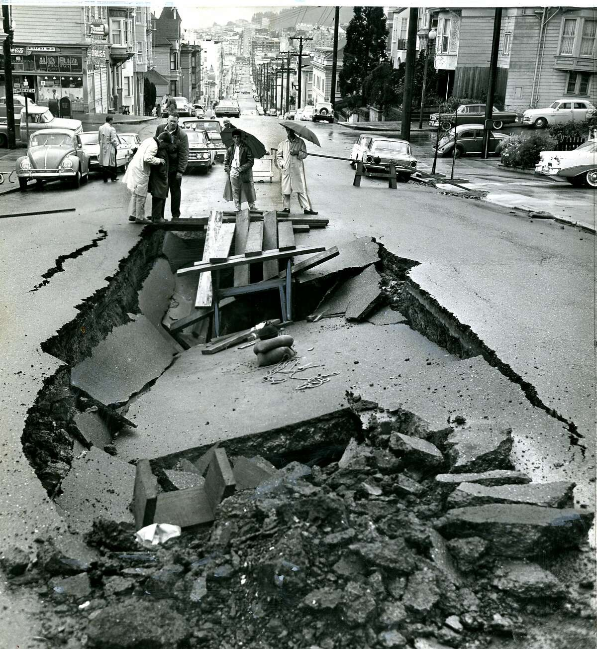 April 7, 1963: A large sinkhole appeared on Broderick Street, between Washington and Jackson Streets in San Francisco.