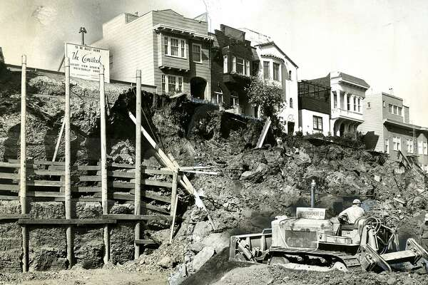 October 19, 1959: The ground collapsed at the site of the construction of the Comstock Apartments,  on Jones Street in San Francisco.