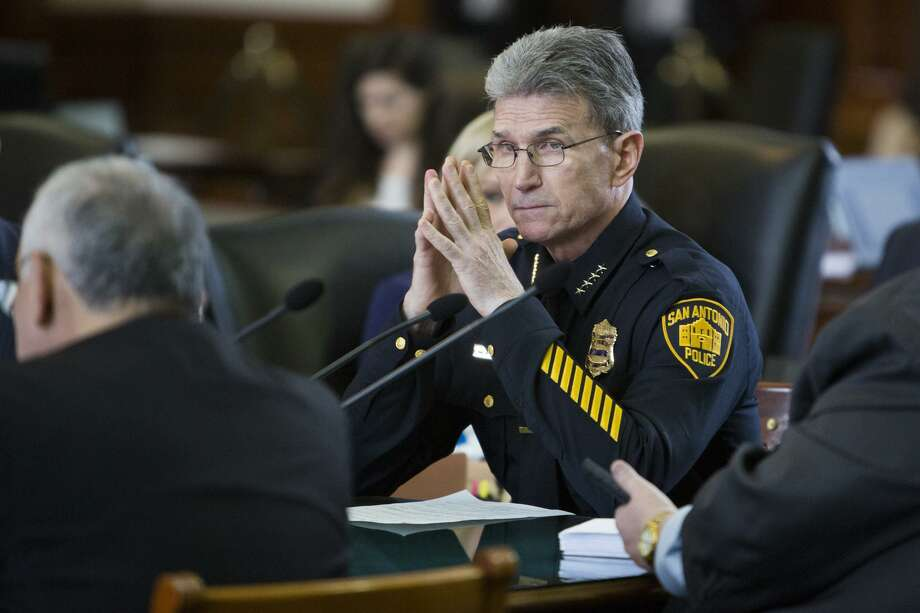 "FILE PHOTO — San Antonio Police Chief William McManus testifies during the Senate Committee on State Affairs meeting about Senate Bill 4 at the Texas Capitol in Austin, Texas on February 2, 2017. The Texas House passed the bill Thursday, April 27, 2017, prompting McManus and former San Antonio Mayor Julián Castro to speak out against it, calling SB 4 ""profiling."" Photo: Carolyn Van Houten, Staff / San Antonio Express-News / 2017 San Antonio Express-News"