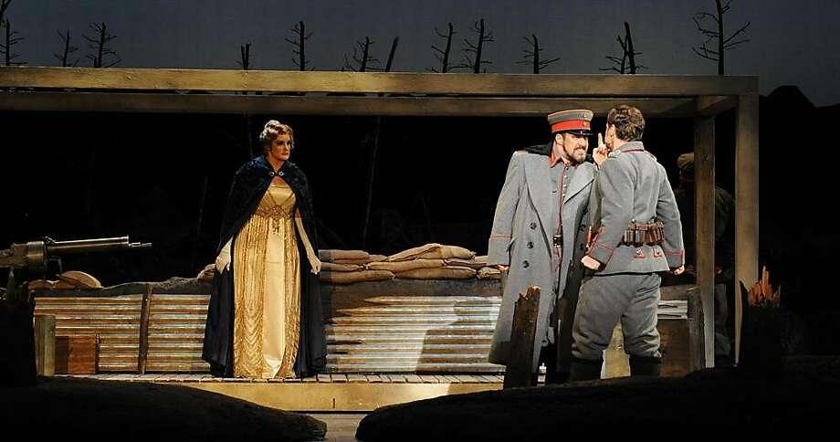 Julie Adams as Anna Sorensen, Kyle Albertson as Lt. Horstmayer and Kirk Dougherty as Nikolaus Sprink in Opera San Jos�s production of�Silent Night. Photo: Pat Kirk