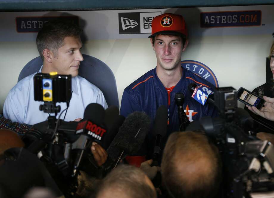 Newly signed outfielder Kyle Tucker, who was selected with the fifth-overall selection in the first round of the 2015 MLB First Year Player Draft, speaks to the media before the of an MLB game at Minute Maid Park on Monday, June 15, 2015, in Houston. ( Karen Warren / Houston Chronicle ) Photo: Karen Warren/Houston Chronicle