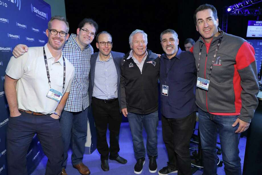 HOUSTON, TX - FEBRUARY 03:  Gary DellAbate, second from right, and John Hein, second from left, host The Howard Stern Wrap Up Show on Howard Sterns exclusive SiriusXM channel, Howard 100 live from the SiriusXM set at Super Bowl LI Radio Row with Joe Buck, far left, New England Patriots President Jonathan Kraft, New England Patriouts owner, Robert Kraft, and Rob Riggle, right, at the George R. Brown Convention Center on February 3, 2017 in Houston, Texas.  (Photo by Cindy Ord/Getty Images for SiriusXM ) Photo: Cindy Ord / Getty Images For SiriusXM / 2017 Getty Images