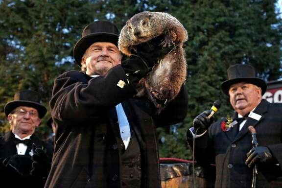 Groundhog Club handler John Griffiths, center, holds Punxsutawney Phil, the weather prognosticating groundhog, during the 131st celebration of Groundhog Day on Gobbler's Knob in Punxsutawney, Pa., Thursday, Feb. 2, 2017. Phil's handlers said that the groundhog has forecast six more weeks of winter weather. (AP Photo/Gene J. Puskar)