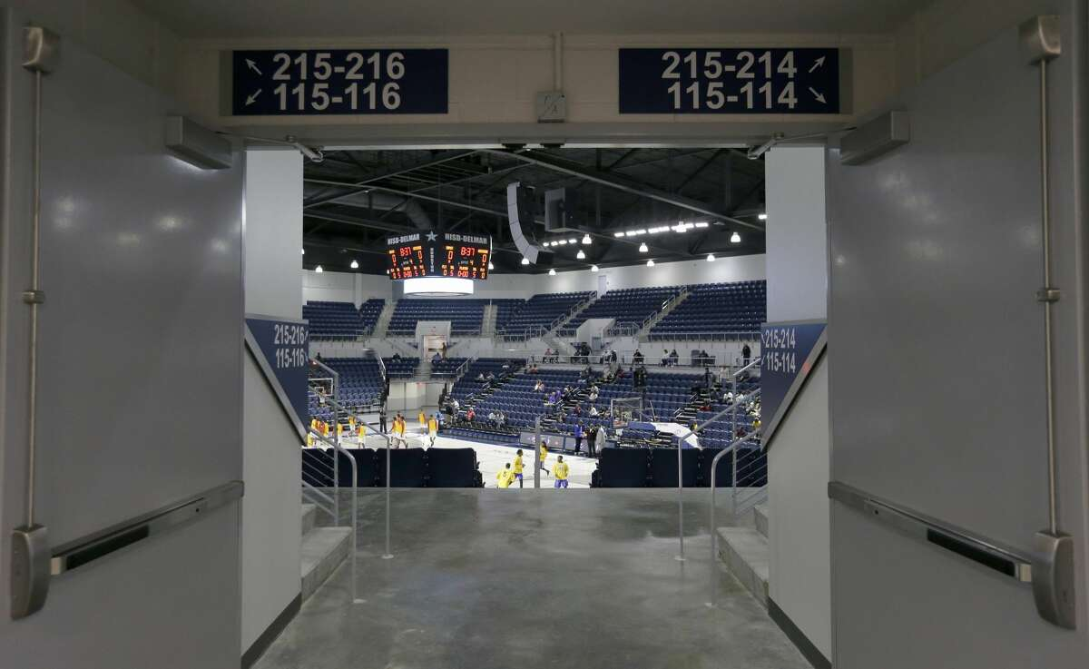 The Delmar Fieldhouse, 2020 Mangum Road, is shown Friday, Feb. 10, 2017, in Houston. The floor features a skyline design. ( Melissa Phillip / Houston Chronicle )