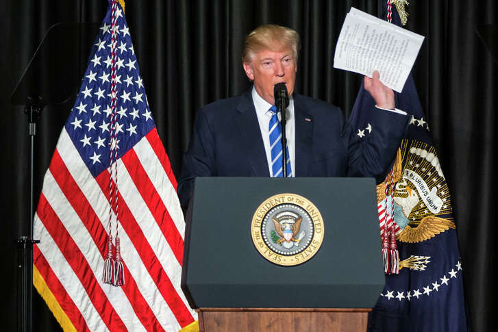 President Donald Trump speaks about the presidential powers of immigration while addressing the Major Cities Chiefs Association conference in Washington, Feb. 8, 2017. (Al Drago/The New York Times)
