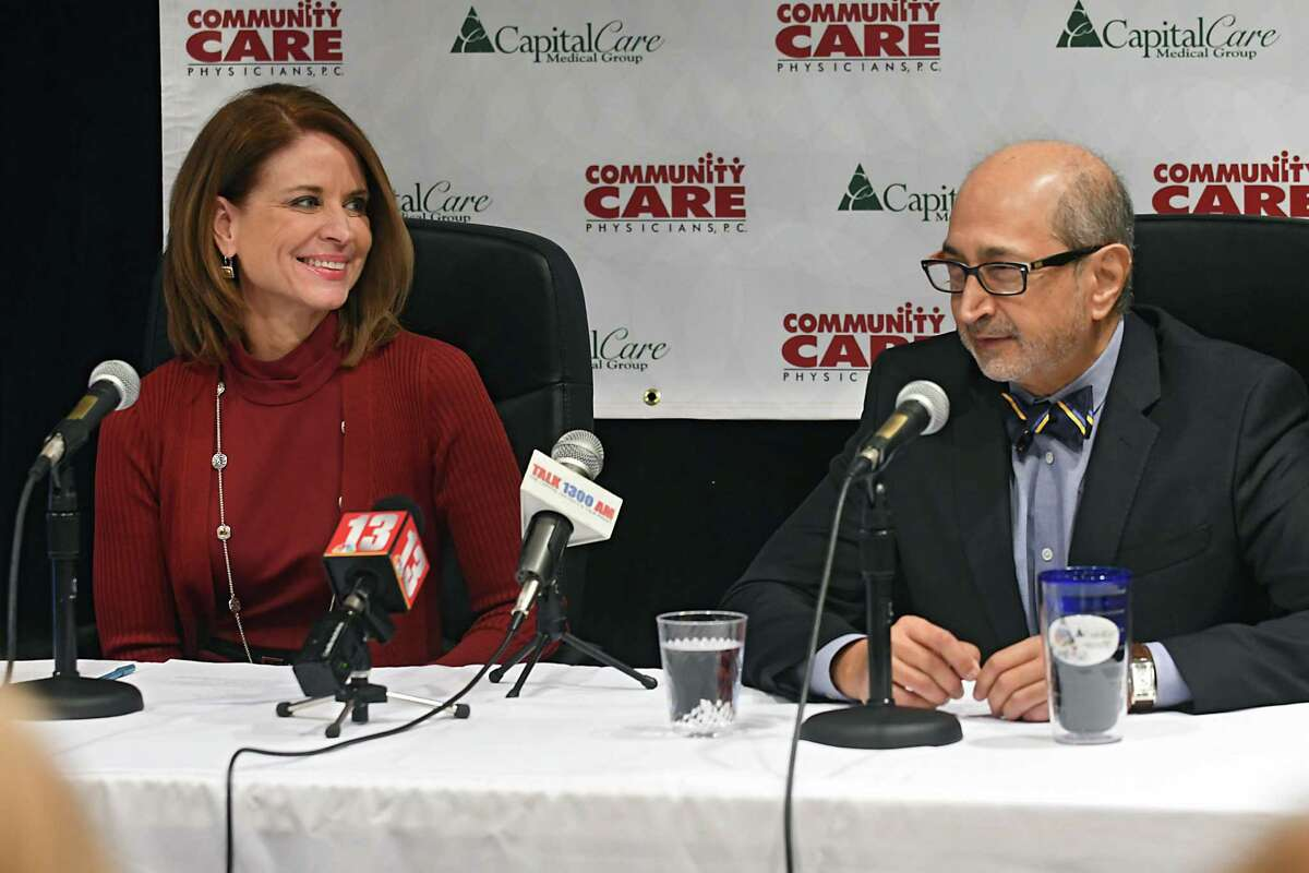 Joan Regan Hayner and Shirish Parikh spoke at a press conference in February 2017 to announce their intent to consolidate. (Lori Van Buren / Times Union)