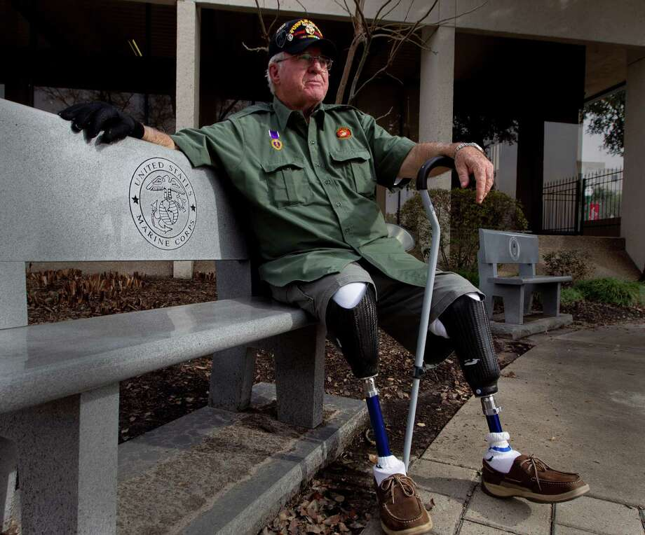Retired United States Marine Corps Cpl. Jimmie Edwards III is working to decommission the Montgomery County War Memorial Park to move it to a new location near Interstate 45 and FM 2978. Edwards lost both legs after being hit by a mortar shell while serving in Vietnam in 1969. Photo: Jason Fochtman, Staff Photographer / © 2017 Houston Chronicle