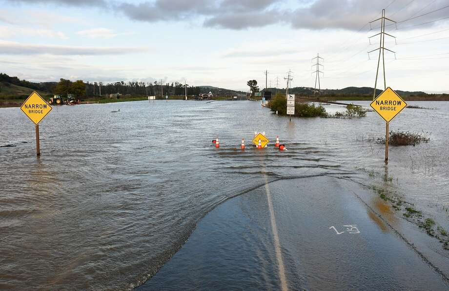 A section of Highway 37 is flooded in February. Photo: Josh Edelson, JOSH EDELSON / SAN FRANCISCO CHRONICLE