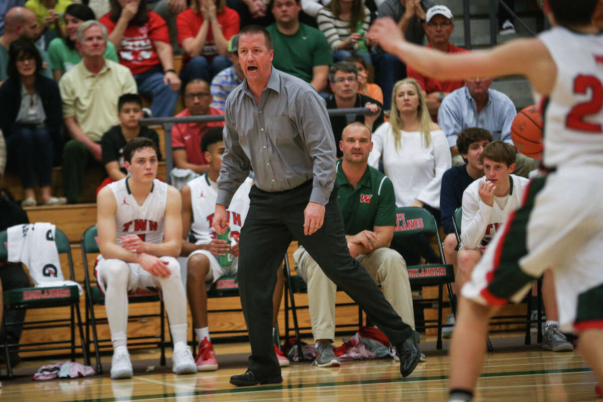 The Woodlands head coach Dale Reed guides his team during the varsity boys basketball game against College Park on Friday, Feb. 10, 2017, at The Woodlands High School. (Michael Minasi / Chronicle)