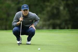 PEBBLE BEACH, CA - FEBRUARY 10:  Jordan Spieth lines up a putt on the 13th hole during Round Two of the AT&T Pebble Beach Pro-Am at Spyglass Hill Golf Course on February 10, 2017 in Pebble Beach, California.  (Photo by Jeff Gross/Getty Images)