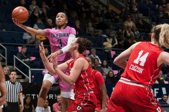 Berkeley, CA - February 10th, 2017:  Cal Guard Mikayla Cowling drives to the basket agains the Utah defense at Haas Pavilion in Berkley, California on Friday, February 10, 2017. Michael Pimentel / isiphotos.com
