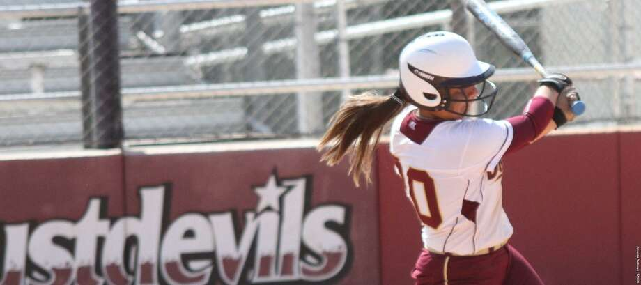 TAMIU's Erika Sanchez and the Dustdevils split their games at the George McCorkel Classic in San Angelo winning 9-8 against Adams State before falling 4-0 to host Angelo State. Photo: Courtesy Of TAMIU Athletics / Courtesy Of TAMIU Athletics