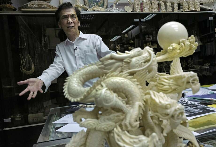 Daniel Chan of Lise Carving and Jewellery in Hong Kong denies the ivory industry is responsible for elephant deaths in Africa. Photo: Vincent Yu, Associated Press