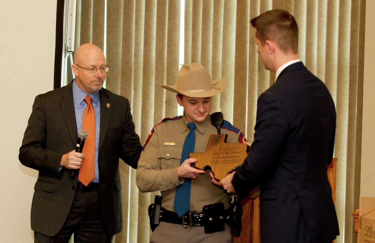 Trooper Ben Polansky received the DWI officer of the year award during the Montgomery County District Attorney's DWI awards at the Lone Star Convention & Expo Center Wednesday, Feb. 8, 2017, in Conroe.