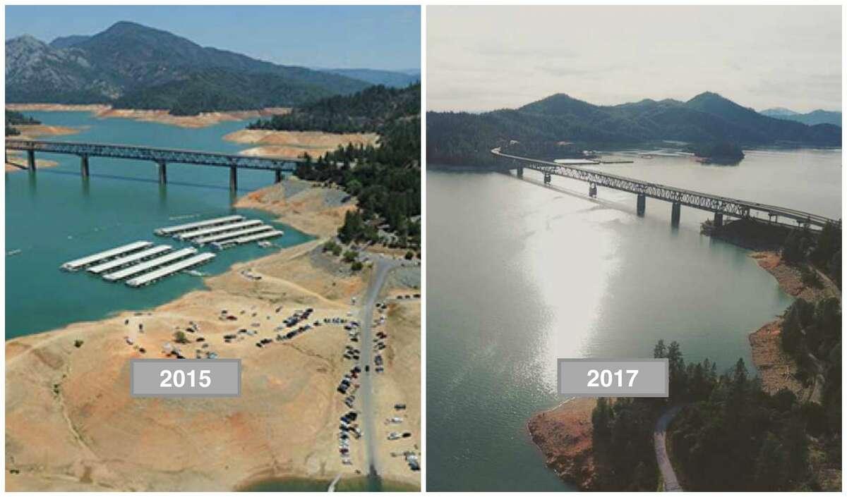 Shasta Lake Left: 2015 amid drought conditions. Right: 2017 amid a wet rain season.
