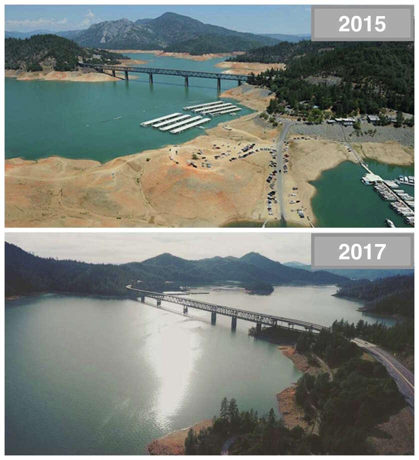 Shasta Lake Top: 2015 amid drought conditions. Bottom: 2017 amid a wet rain season. Photo: Top, Paul Hames, DWR Photography. Bottom, Instagram Photo By Julian Glukhenko.