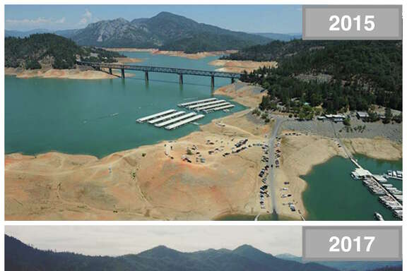 Shasta Lake    Top: 2015 amid drought conditions.   Bottom: 2017 amid a wet rain season.