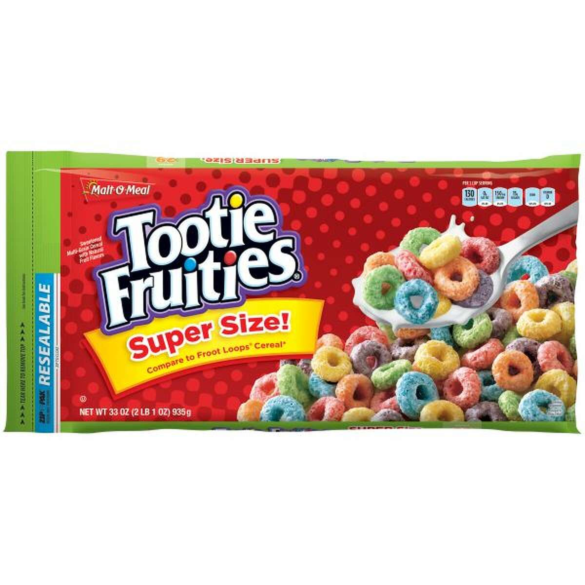 23) Malt-O-Meal Tootie Fruities Cereal Serving size: 1 cup (32g) Total sugar: 15g Calories: 130 Fat: 1g