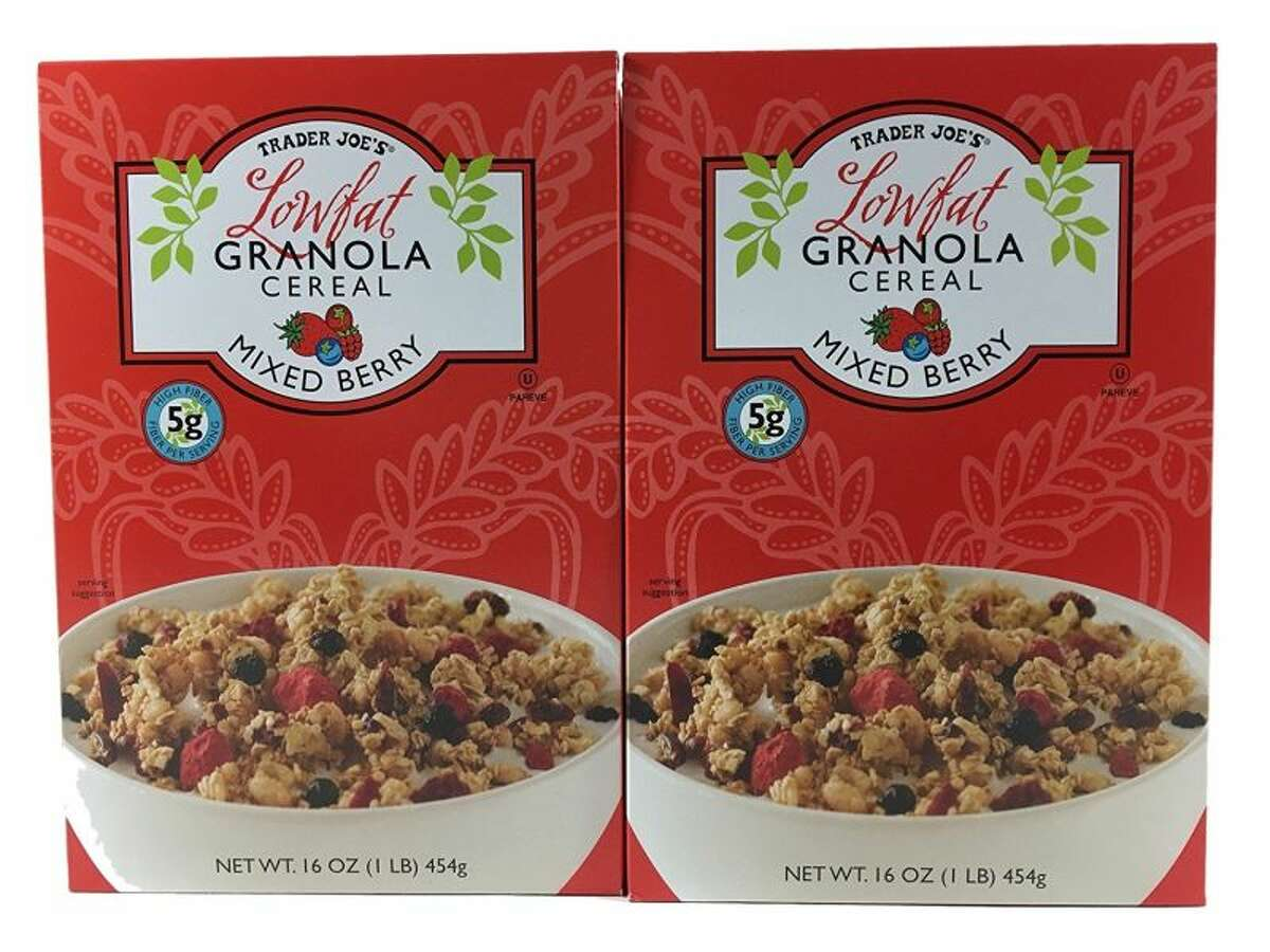 22) Trader Joe's Low Fat Granola Cereal - Mixed Berry Serving size: .8 cup (55g) Total sugar: 15g Calories: 210 Fat: 3g