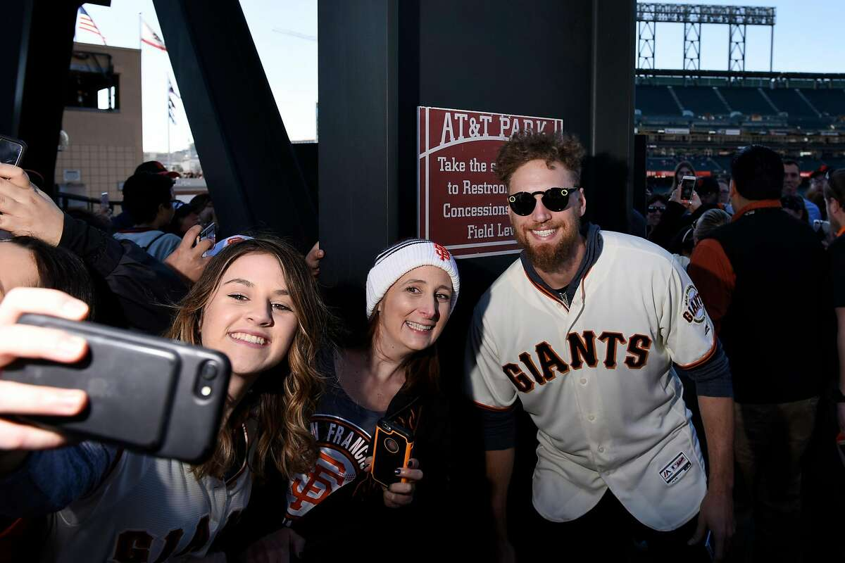 Hunter Pence takes a selfie with fans as the San Francisco Giants hold their FanFest event at AT&T Park.