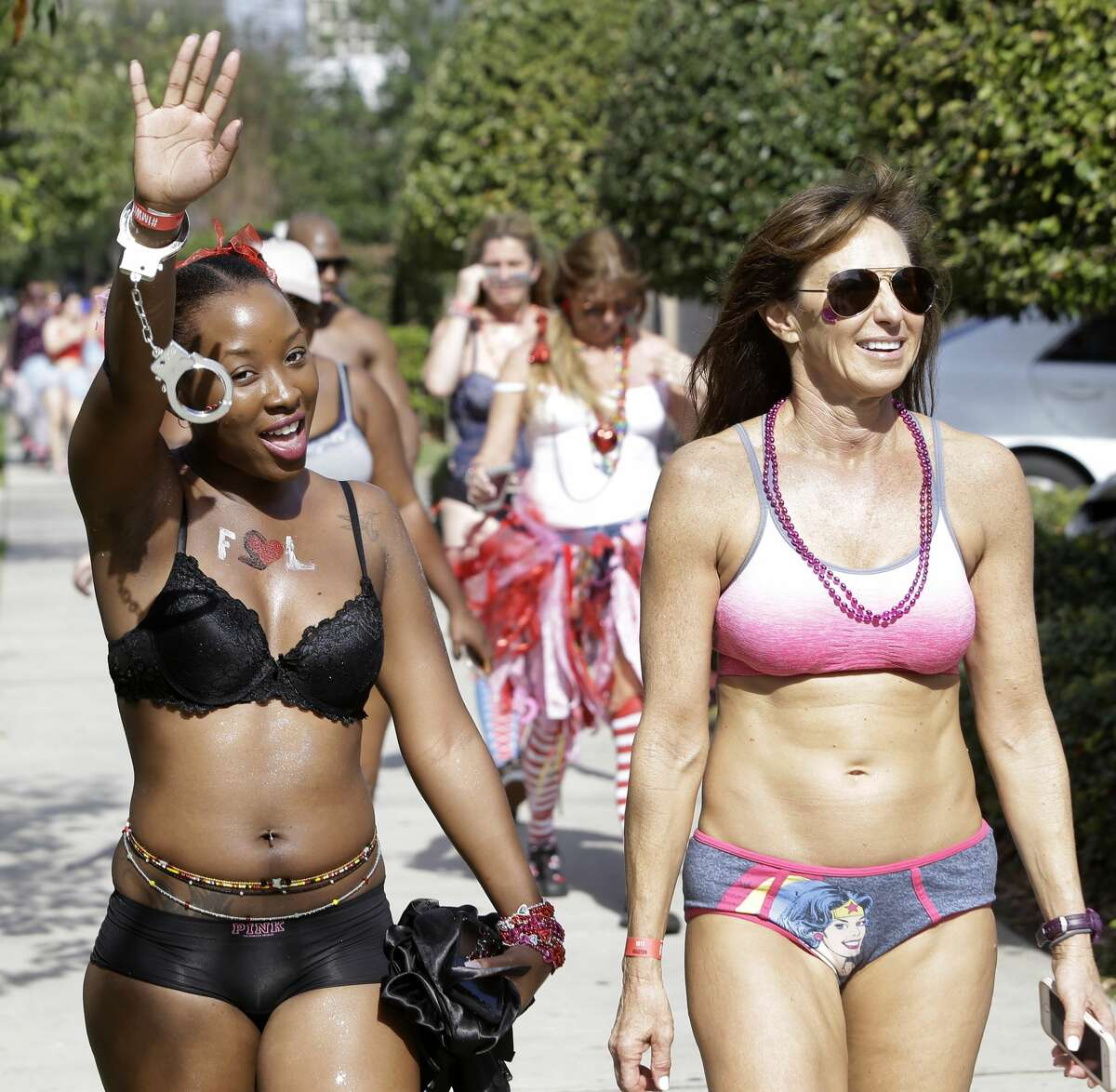 People participate in the Cupid's Undies Run held by The Dogwood, 2403 Bagby Street, a fundraiser for The Children?•s Tumor Foundation shown Saturday, Feb. 11, 2017, in Houston. ( Melissa Phillip / Houston Chronicle )