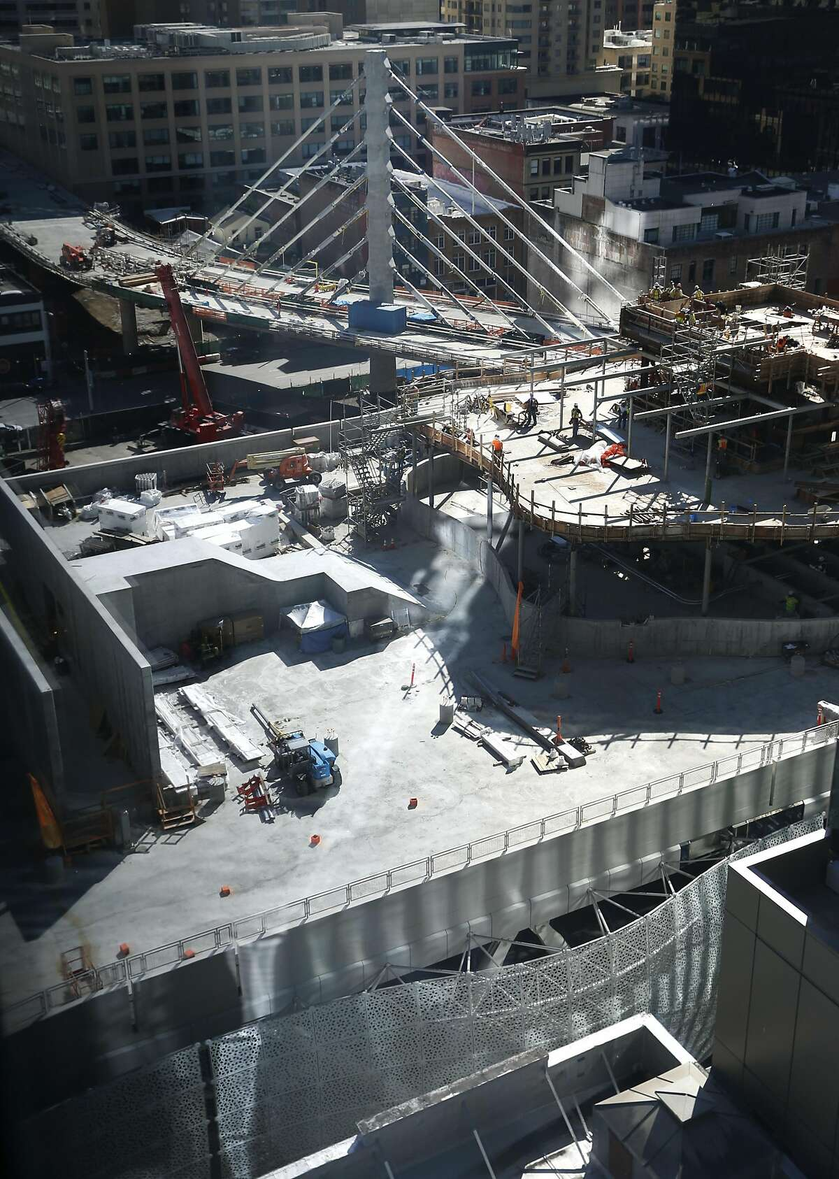 Construction work continues on the Transbay Transit Center project in San Francisco on Saturday, Feb. 11, 2017.