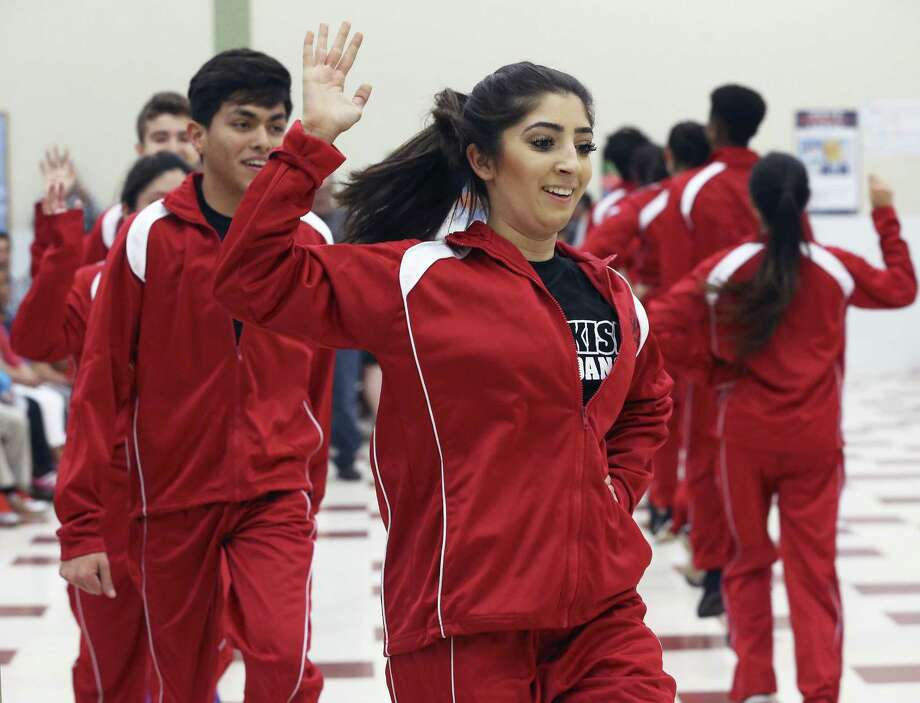 Maryam Khezri performs with the Turkish Folk Dancers as students from the School of Science and Technology compete in the 12th annual Languages Other Than English talent contest at the Discovery campus on February 11, 2017. Photo: Tom Reel, Staff / San Antonio Express-News / 2017 SAN ANTONIO EXPRESS-NEWS