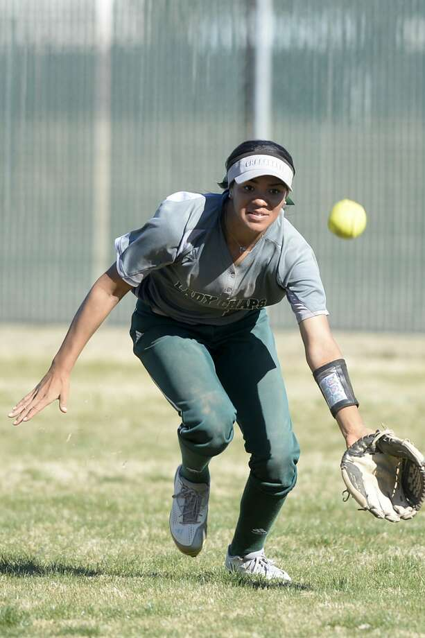 Midland College's Kiana Broderson-Jones chases down a hit from Lamar College on Saturday, Feb. 11, 2017, at the Midland College softball field. James Durbin/Reporter-Telegram Photo: James Durbin