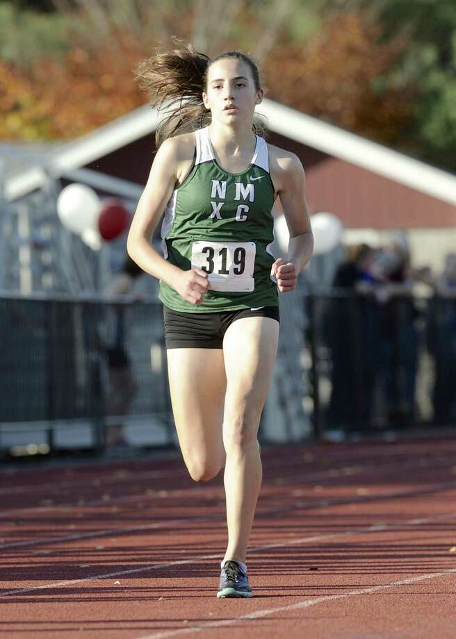Mia Nahom (319), New Milford High School, finished 2nd in the girls SWC Cross Country Championship, held at Bethel High School, Bethel, Conn, on Friday, October 17, 2014. Photo: H John Voorhees III / H John Voorhees III / The News-Times Staff Photographer