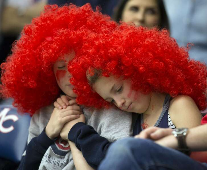Young Saint Mary�s fans Peter Appleton, left, and sister Avery can't hide their disappointment during the second half of an NCAA college men's basketball game against Gonzaga on Saturday, Feb. 11, 2017 in Moraga, Calif. Gonzaga won 74-64.