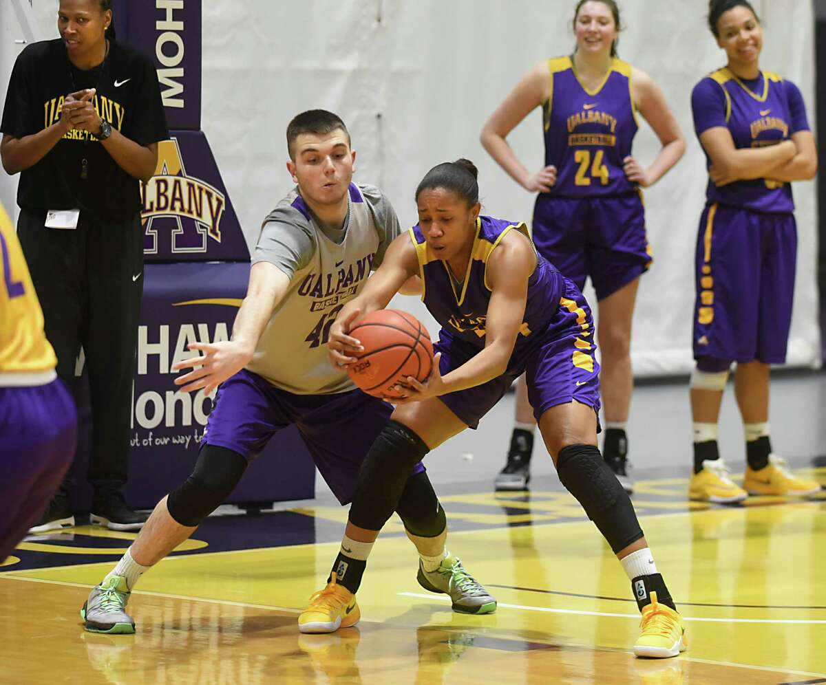 Jonathan Pickett of Mechanicville, shown as a practice player against the UAlbany women in 2017, has joined the Siena men's basketball staff as a special assistant. (Lori Van Buren / Times Union) ,