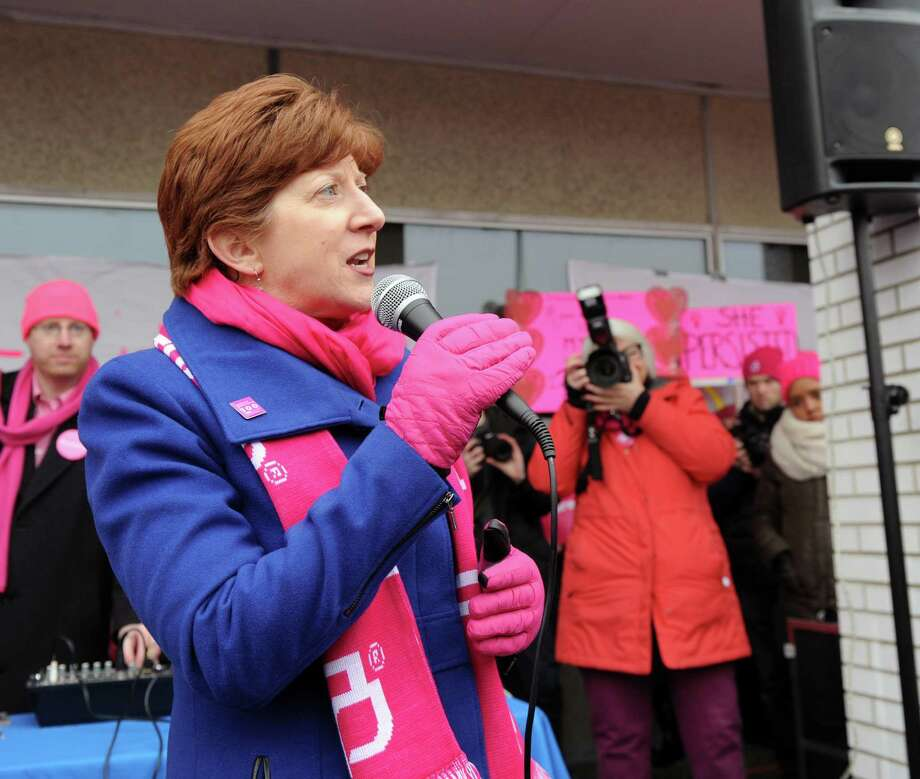 Albany Mayor Kathy Sheehan speaks during a rally supporting Planned Parenthood at the organization's location on Central Avenue in Albany, N.Y. Saturday, Feb. 11, 2017. (Robert Downen/Times Union)
