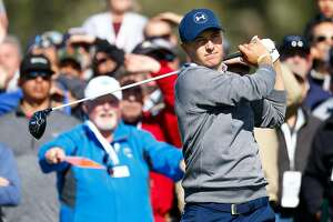 PEBBLE BEACH, CA - FEBRUARY 11:  Jordan Spieth hits his tee shot on the sixth hole during Round Three of the AT&T Pebble Beach Pro-Am at Pebble Beach Golf Links on February 11, 2017 in Pebble Beach, California.  (Photo by Jonathan Ferrey/Getty Images)