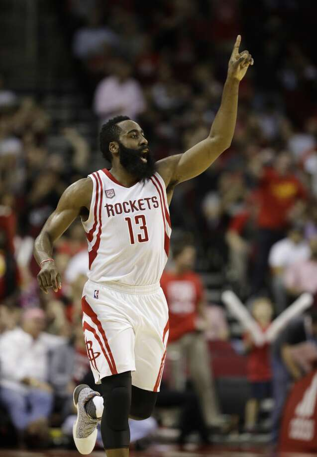 Houston Rockets' James Harden (13) yells to teammates during the second half of an NBA basketball game against the Phoenix Suns, Saturday, Feb. 11, 2017, in Houston. (AP Photo/David J. Phillip) Photo: David J. Phillip/Associated Press