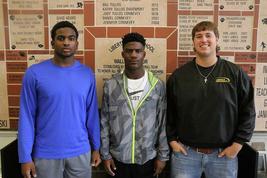Three Liberty Panthers were named to the Texas Sports Writers Association All-State list released last week. From left, Tyris Williams (senior, Honorable Mention), Alex Brown (senior, Second Team running back) and John Ryder Moorman (junior, Second Team lineman). Photo: David Taylor
