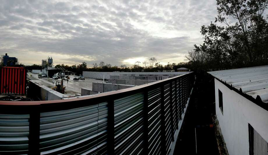 A stitched panorama view of the Integrity Mix concrete plant Thursday, Dec. 1, 2016 in Houston from the roof of a home that backs up to the facility that runs 24/7. Photo: Michael Ciaglo, Houston Chronicle / © 2016  Houston Chronicle