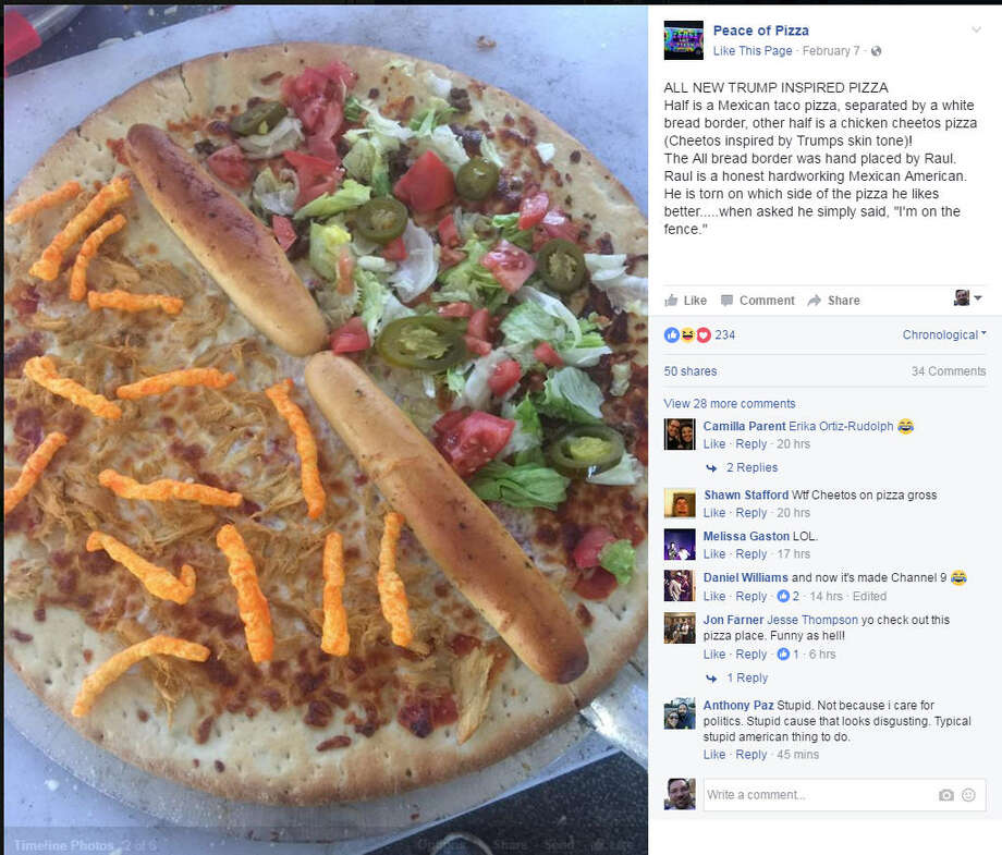 Texas pizza joint takes pies politicallyA West Texas pizza joint is taking pie politically. Peace of Pizza created two specialty pizzas to play off the current political situation - one Donald Trump themed, the other poking fun at Democrats. Photo: Facebook