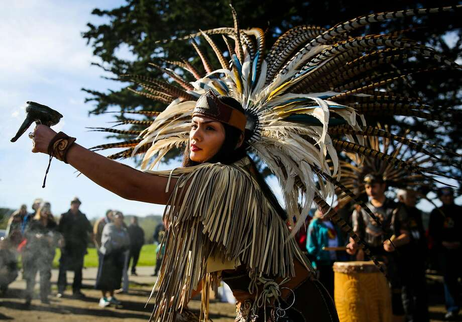 """Sarahid Rivera, of the group Calpulli Nanahuatzin, spreads incense while performing at """"the longest walk"""" kickoff ceremony at Crissy Field in San Francisco, California, on Sunday, Feb. 12, 2017. The walk, which goes from San Francisco to Washington D.C. is part of a project to end the drug and alcohol use on reservations. Photo: Gabrielle Lurie, The Chronicle"""