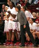 Stanford head coach Tara VanDerveer shouts instructions as Nadia Fingall cheers in 1st quarter against Utah during PAC 12 Women's basketball game at Maples Pavilion in Stanford, Calif., on Sunday, February 12, 2017.