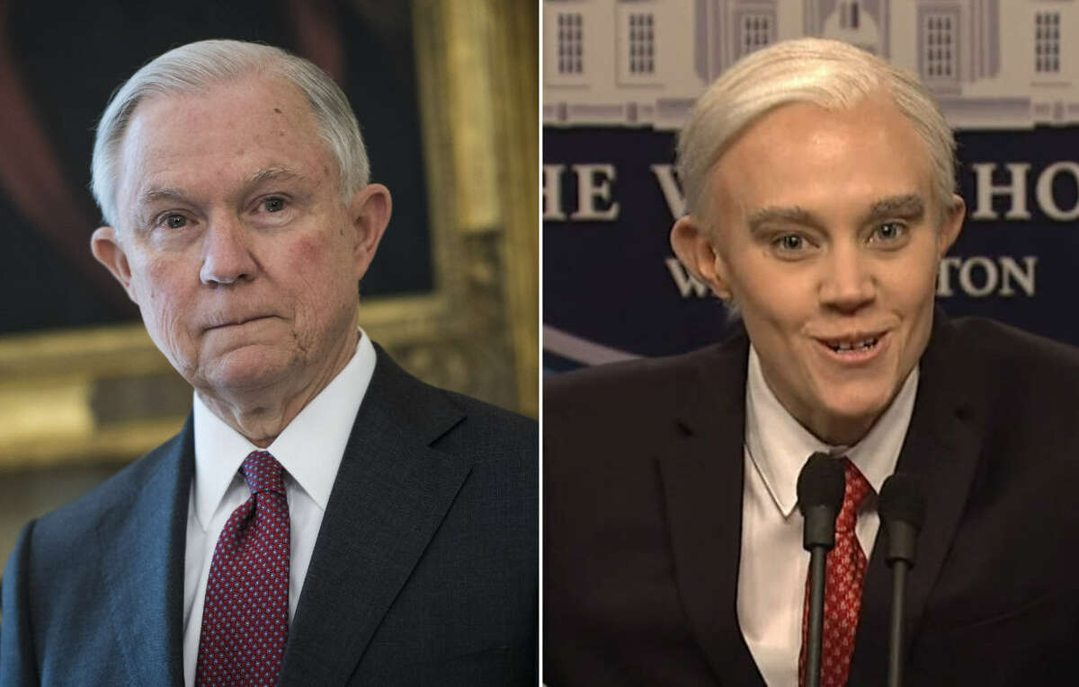 Left: Attorney General Jeff Sessions Right: Actress Kate McKinnon