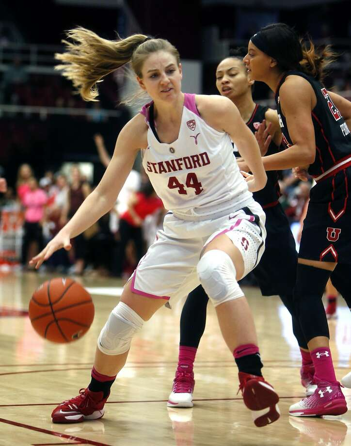 Stanford's Karlie Samuelson (44) drives to the basket past Utah's Daneesha Provo and Kiana Moore in 2nd quarter during PAC 12 Women's basketball game at Maples Pavilion in Stanford, Calif., on Sunday, February 12, 2017. Photo: Scott Strazzante, The Chronicle